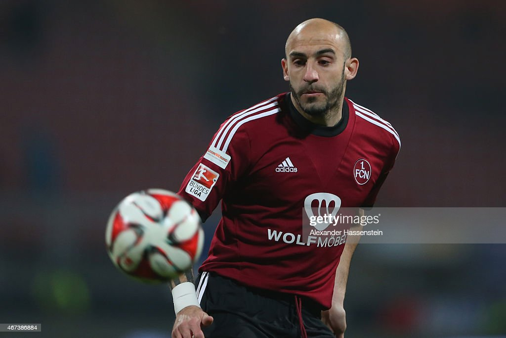 Javier Pinola of Nuernberg runs with the ball during the Second Bundesliga match between 1 FC Nuernberg and VfL Bochum at GrundigStadion on March 23...