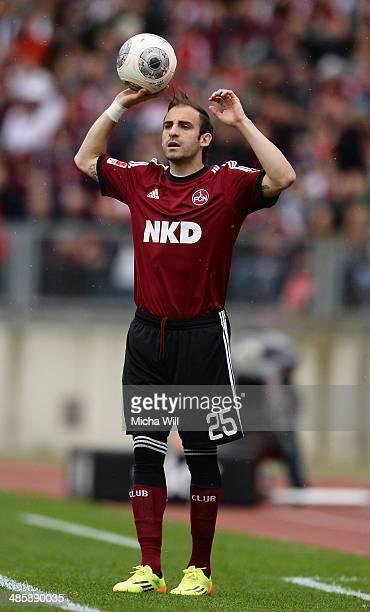 Javier Pinola of Nuernberg throws in the ball during the Bundesliga match between 1 FC Nuernberg and Bayer Leverkusen at Grundig Stadium on April 20...