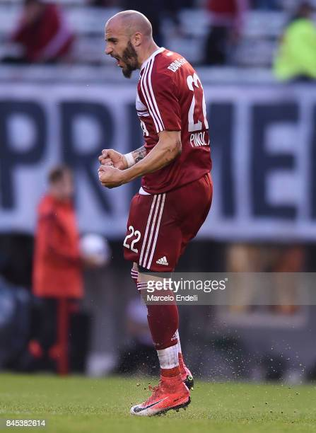 Javier Pinola of River Plate celebrates after scoring the first goal of his team during a match between River Plate and Banfield as part of Superliga...
