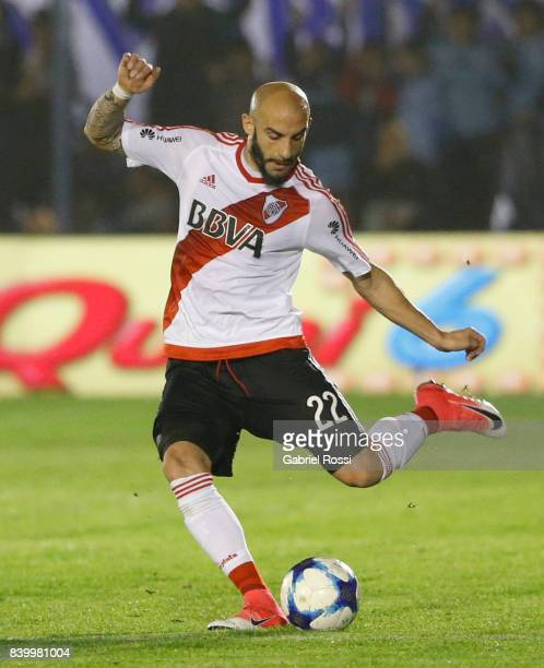 Javier Pinola of River Plate kicks the ball during a match between Temperley and River Plate as part of first round of Superliga 2017/18 at Alfredo...