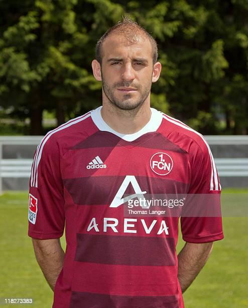 Javier Pinola poses during the 1 FC Nuernberg team presentation on July 5 2011 in Nuremberg Germany