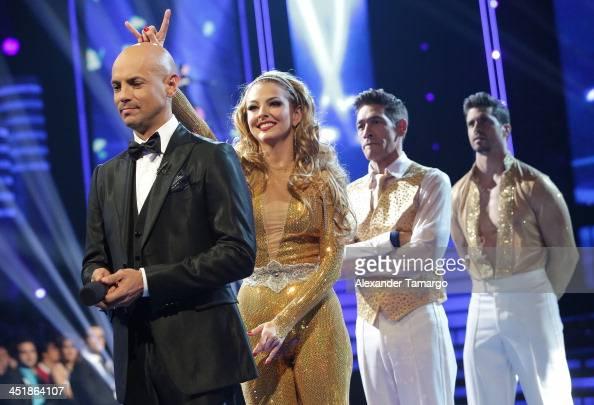 Javier Poza Marjorie De Sousa Johnny Lozada and Pedro Moreno participate in Univision's 'Mira Quien Baila' Grand Finale at Univision Headquarters on...