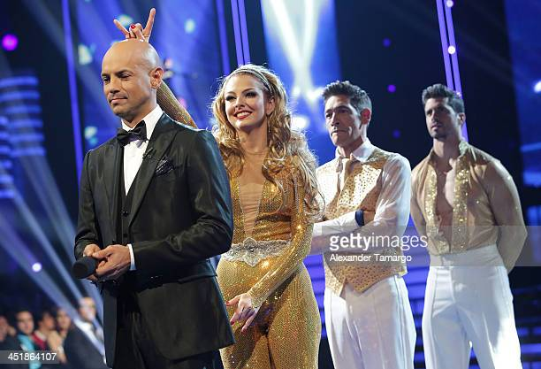 Javier Poza Marjorie De Sousa Johnny Lozada and Pedro Moreno participate in Univision's 'Mira Quien Baila' Grand Finale at Univision Headquarters on...