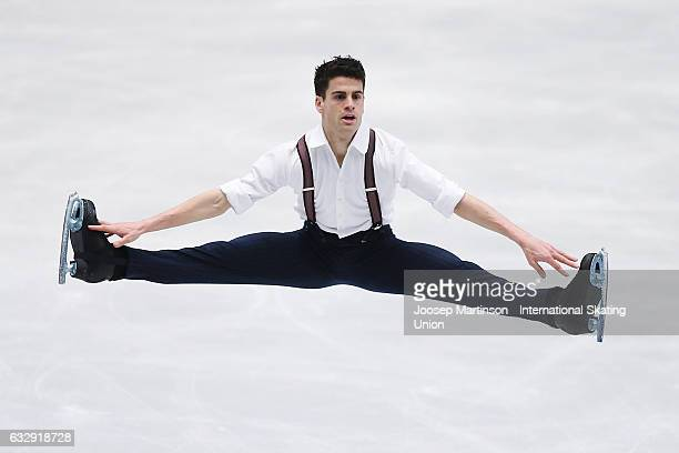 Javier Raya of Spain competes in the Men's Free Skating during day 4 of the European Figure Skating Championships at Ostravar Arena on January 28...