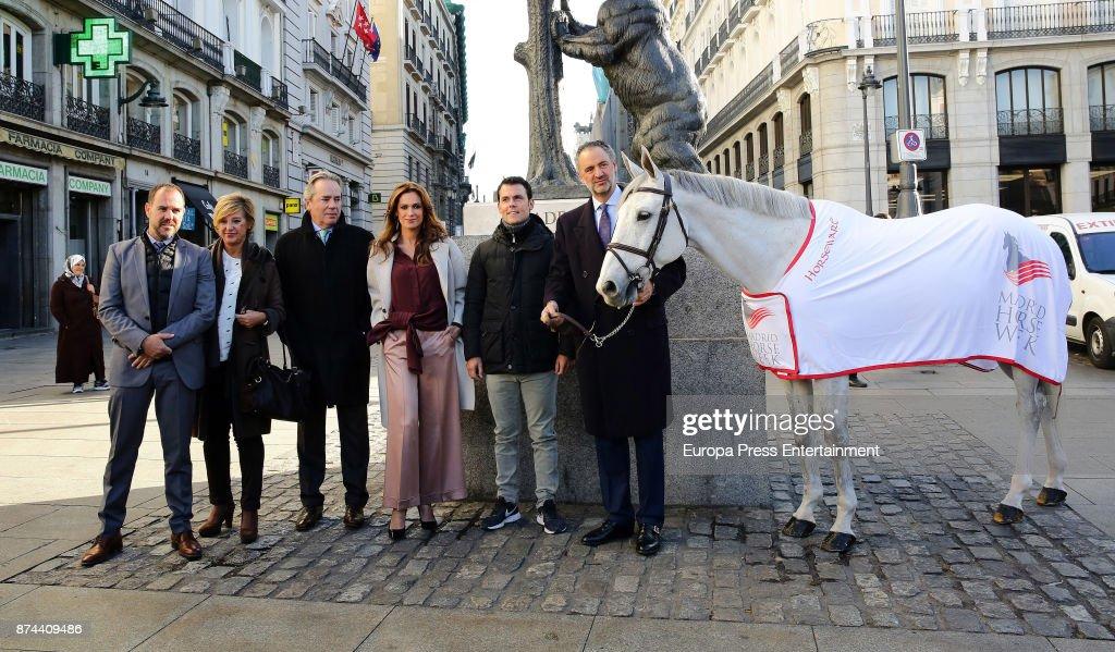 Javier Revuelta, model Mar Saura, Sergio Alvarez Moya and Daniel Entrecanales present Madrid Horse Week 2017 on November 14, 2017 in Madrid, Spain.
