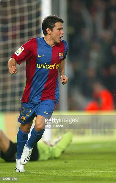 Javier Saviola celebrates his goal during the La Liga match between FC Barcelona and Mallorca on April 15 at the Camp Nou stadium in Barcelona Spain