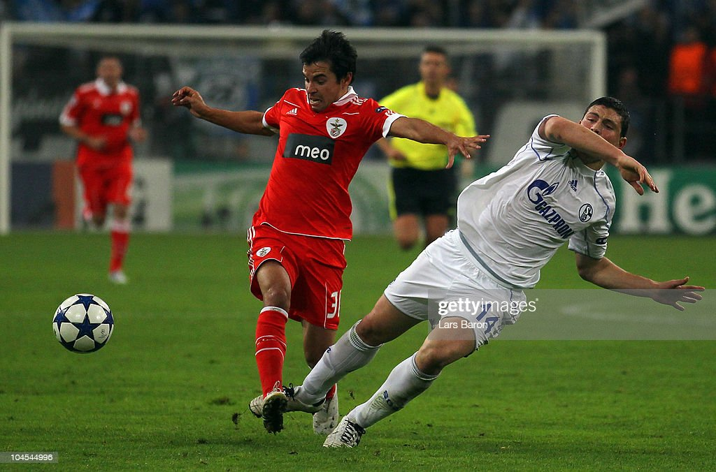 <a gi-track='captionPersonalityLinkClicked' href=/galleries/search?phrase=Javier+Saviola&family=editorial&specificpeople=207198 ng-click='$event.stopPropagation()'>Javier Saviola</a> of Benfica is challenged by Kyriakos Papadopoulos of Schalke during the UEFA Champions League match between FC Schalke 04 and SL Benfica at Veltins Arena on September 29, 2010 in Gelsenkirchen, Germany.