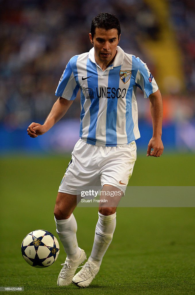 <a gi-track='captionPersonalityLinkClicked' href=/galleries/search?phrase=Javier+Saviola&family=editorial&specificpeople=207198 ng-click='$event.stopPropagation()'>Javier Saviola</a> of Malaga in action during the UEFA Champion League quarter final first leg match between Malaga CF and Borussia Dortmund at La Rosaleda Stadium on April 3, 2013 in Malaga, Spain.