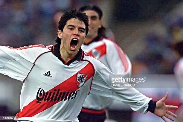 Javier Saviola of River Plate celebrates after his goal 15 October 2000 during a game against Boca Juniors at the Monumental de River stadium in...