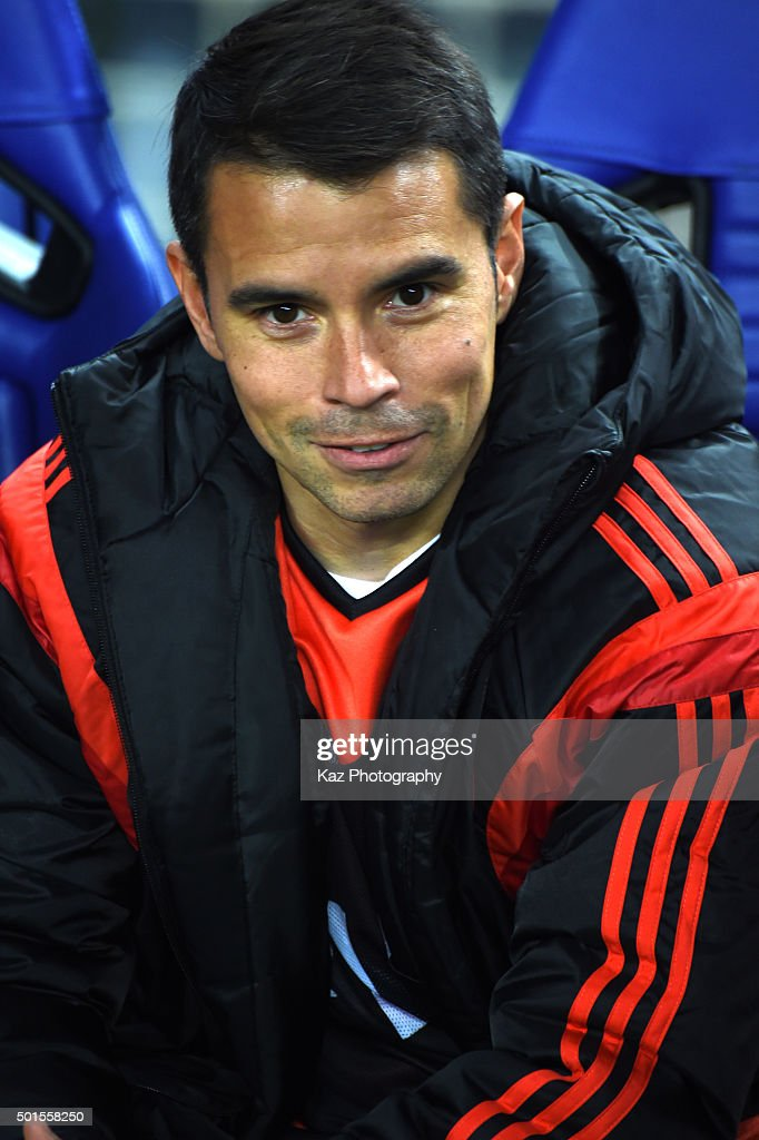 <a gi-track='captionPersonalityLinkClicked' href=/galleries/search?phrase=Javier+Saviola&family=editorial&specificpeople=207198 ng-click='$event.stopPropagation()'>Javier Saviola</a> of River Plate looks on during the FIFA Club World Cup semi-finals between the Sanfrecce Hiroshima and River Plate at Osaka Nagai Stadium on December 16, 2015 in Osaka, Japan.