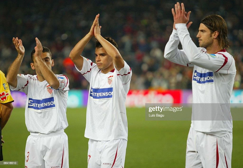 Javier Saviola of Sevilla and Castedo David (L) and Aitor Ocio (R) are seen before the Primera Liga match between FC Barcelona and Sevilla on December 11, 2005 at the Camp Nou stadium in Barcelona, Spain.