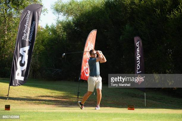 Javier Sierra of NatWest plays his first shot on the 1st tee during The Lombard Trophy Final Day One on September 21 2017 in Albufeira Portugal