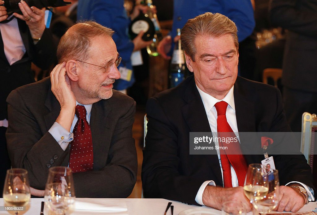 <a gi-track='captionPersonalityLinkClicked' href=/galleries/search?phrase=Javier+Solana&family=editorial&specificpeople=171483 ng-click='$event.stopPropagation()'>Javier Solana</a> (L) and Albanian prime minister <a gi-track='captionPersonalityLinkClicked' href=/galleries/search?phrase=Sali+Berisha&family=editorial&specificpeople=569802 ng-click='$event.stopPropagation()'>Sali Berisha</a> attend a gala dinner for the participants of the Munich conference at Munich royal residence on security policy on February 2, 2013 in Munich, Germany. The Munich Security Conference brings together senior figures from around the world to engage in an intensive debate on current and future security challenges and remains the most important independent forum for the exchange of views by international security policy decision-makers.