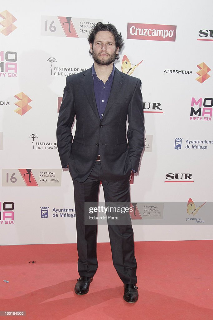 <a gi-track='captionPersonalityLinkClicked' href=/galleries/search?phrase=Javier+Sotomayor&family=editorial&specificpeople=227009 ng-click='$event.stopPropagation()'>Javier Sotomayor</a> attends Malaga Film Festival party photocall at MOMA 56 disco on April 9, 2013 in Madrid, Spain.