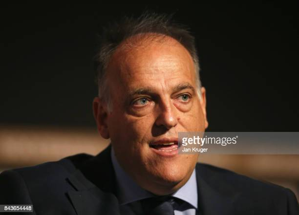 Javier Tebas La Liga President talks during day 3 of the Soccerex Global Convention at Manchester Central Convention Complex on September 6 2017 in...