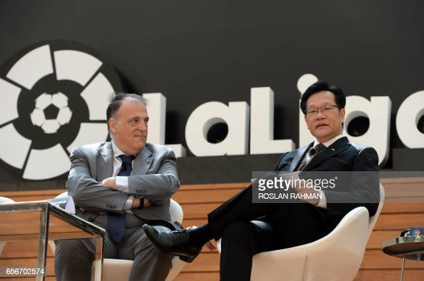 Javier Tebas president of La Liga and Kim Kia Tong provisional council president of FAS and deputy chairman of FIFA disciplinary committee attend the...