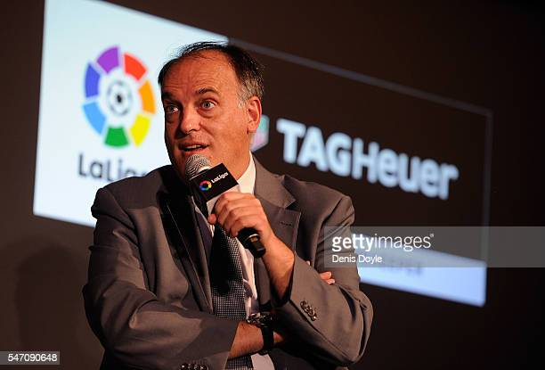 Javier Tebas President of La Liga speaks at the press conference to announce TAG Heuer as the Official Timekeeper and Official Sponsor of La Liga at...