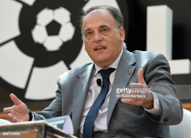 Javier Tebas president of La Liga speaks during the official launch of Spanish Football League La Liga office in Singapore on March 23 2017 / AFP...
