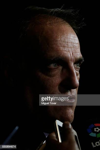 Javier Tebas President of LaLiga talks with mexican journalists during the first day of the Soccerex Americas Forum at Camino Real Hotel on May 11...