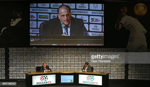 Javier Tebas President of Liga de Futbol Profesional during the Soccerex European Forum Conference Programme on September 10 2014 in Manchester...