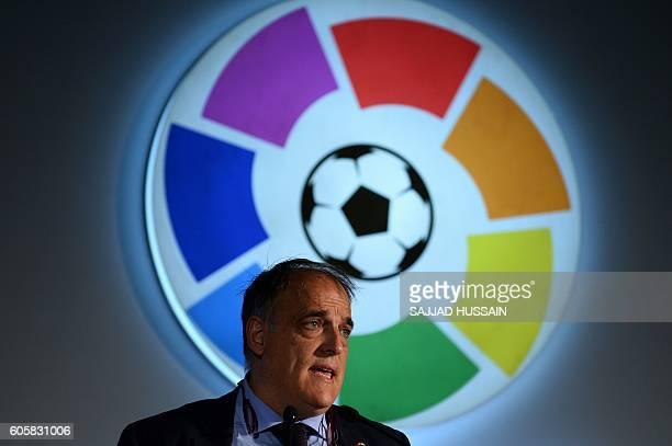 Javier Tebas president of Spanish football league La Liga speaks during a promotional event in New Delhi on September 15 2016 / AFP / SAJJAD HUSSAIN