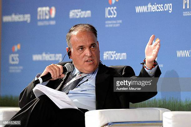 Javier Tebas President of the Spanish Football League speaks during the Financial Integrity Transparency In Sport Forum hosted by the International...