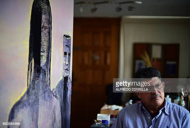 Javier Tejeda a 64yearold former Mexican federal police officer and exconvict who became an artist in prison speaks during an interview with AFP in...