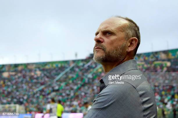 Javier Torrente coach of Leon looks on prior the 15th round match between Leon and Puebla as part of the Torneo Clausura 2017 Liga MX at Nou Camp...