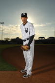 Javier Vazquez of the New York Yankees poses for a photo during Spring Training Media Photo Day at George M Steinbrenner Field on February 25 2010 in...
