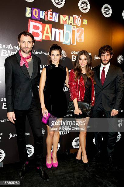 Javier Villagran Clara Lago Ursula Corbero and Quim Gutierrez attend 'Quien Mato a Bambi' premiere at La Cocina Rock Bar on November 12 2013 in...
