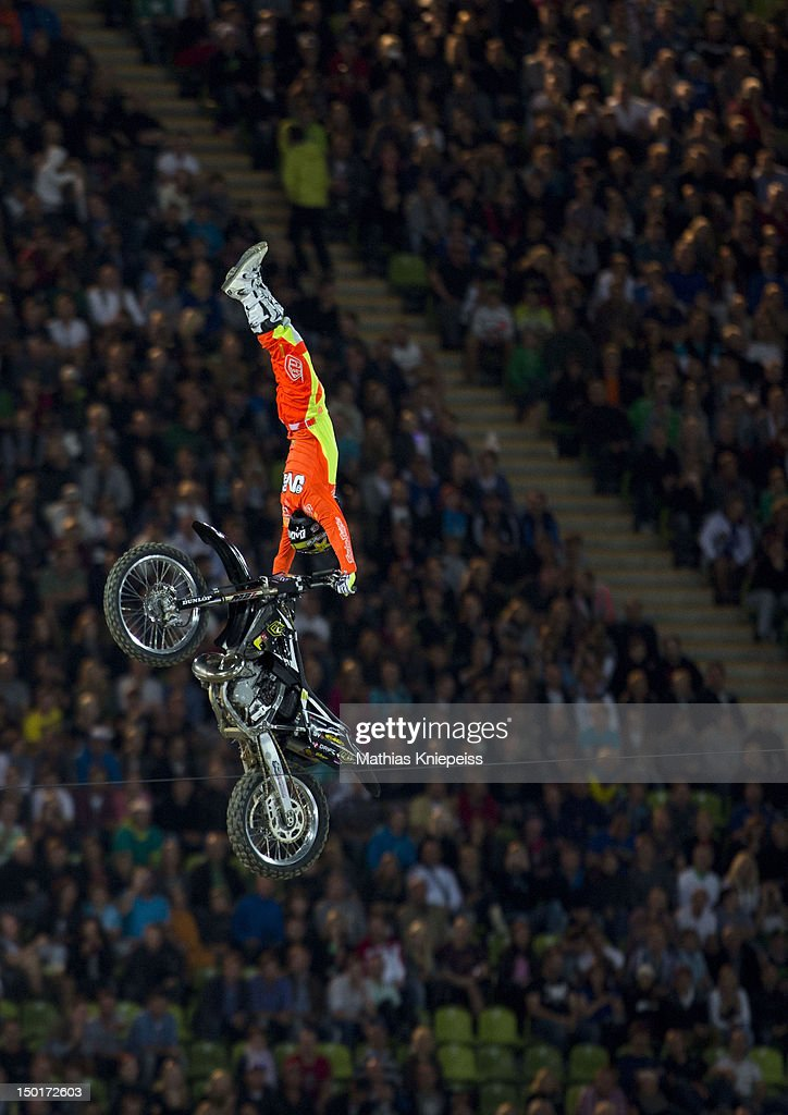 Javier Villegas of Chile in action during the Red Bull X-Fighters World Tour at Olympia stadium on August 11, 2012 in Munich, Germany.