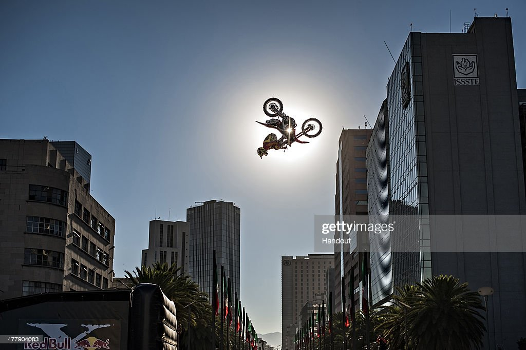 Javier Villegas of Chile warms up for the the Red Bull X-Fighters World Tour season opener at the Monumento a la Revolucion on March 11, 2014 in Mexico City, Mexico.