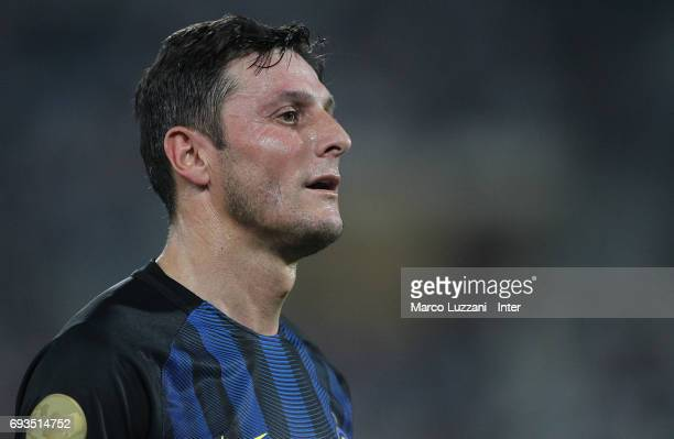 Javier Zanett of Inter Forever looks on during the friendlt match between Greece 2004 and Inter Forever at Pankrition Stadium on June 7 2017 in...