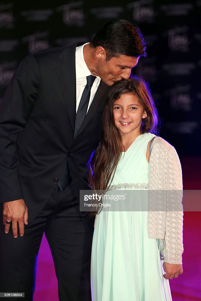 <a gi-track='captionPersonalityLinkClicked' href=/galleries/search?phrase=Javier+Zanetti&family=editorial&specificpeople=206966 ng-click='$event.stopPropagation()'>Javier Zanetti</a> and his daughter attend 'Tini - The New Life Of Violetta' Premiere In Rome on April 29, 2016 in Rome, Italy.