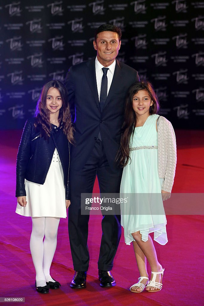 <a gi-track='captionPersonalityLinkClicked' href=/galleries/search?phrase=Javier+Zanetti&family=editorial&specificpeople=206966 ng-click='$event.stopPropagation()'>Javier Zanetti</a> and his daughters attend 'Tini - The New Life Of Violetta' Premiere In Rome on April 29, 2016 in Rome, Italy.