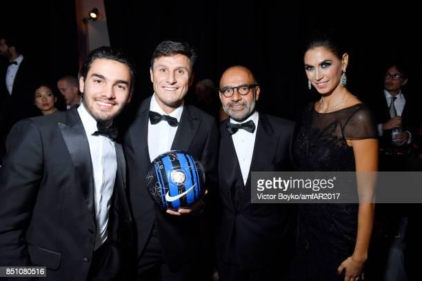 Javier Zanetti and Melissa Satta attend amfAR Gala Milano on September 21 2017 in Milan Italy