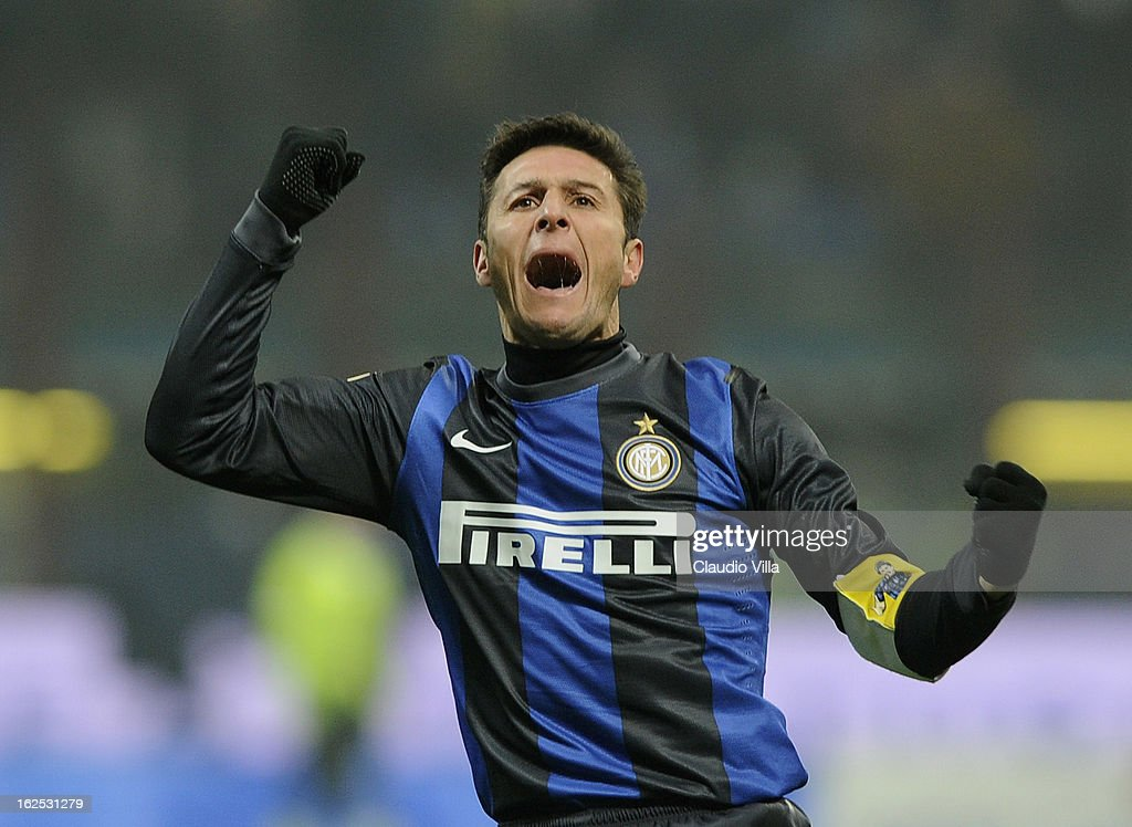 <a gi-track='captionPersonalityLinkClicked' href=/galleries/search?phrase=Javier+Zanetti&family=editorial&specificpeople=206966 ng-click='$event.stopPropagation()'>Javier Zanetti</a> of FC Inter Milan celebrates during the Serie A match FC Internazionale Milano and AC Milan at San Siro Stadium on February 24, 2013 in Milan, Italy.