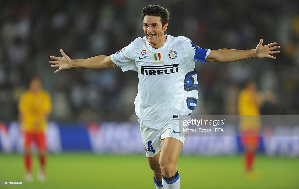Javier Zanetti of FC Internazionale Milano celebrates scoring to make it 2-0 during the FIFA Club World Cup match between Seongnam Ilhwa Chunma FC and Inter Milan at Zayed Sports City on December 15, 2010 in Abu Dhabi, United Arab Emirates.