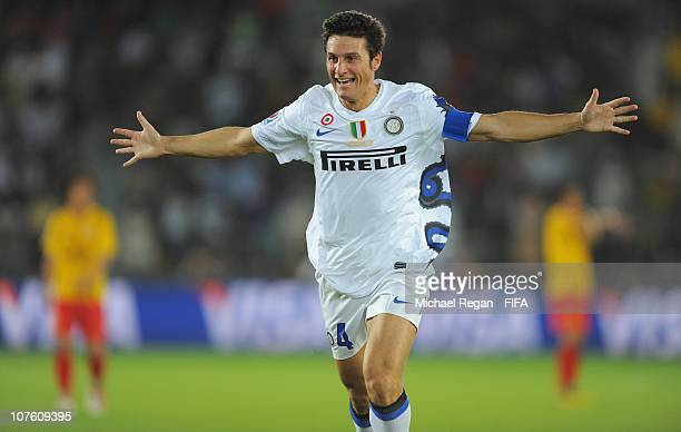 Javier Zanetti of FC Internazionale Milano celebrates scoring to make it 20 during the FIFA Club World Cup match between Seongnam Ilhwa Chunma FC and...