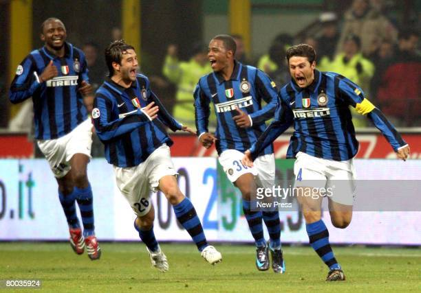 Javier Zanetti of Inter celebrates his goal during the Serie A match between Inter and Roma at the Stadio Meazza San Siro on Febraury 27 2008 in...