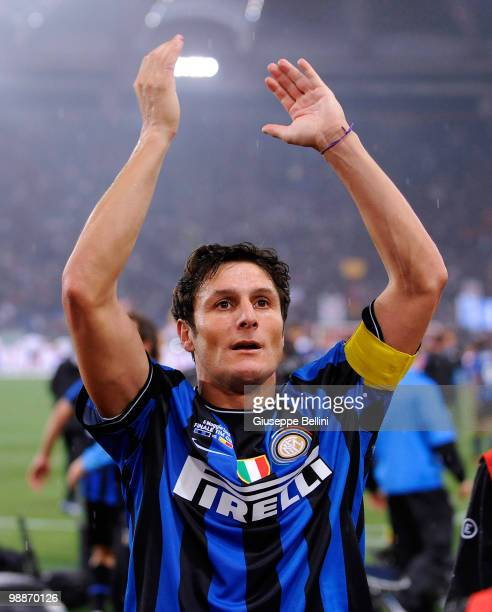 Javier Zanetti of Inter celebrates victory after the Tim Cup match between FC Internazionale Milano and AS Roma at Stadio Olimpico on May 5 2010 in...