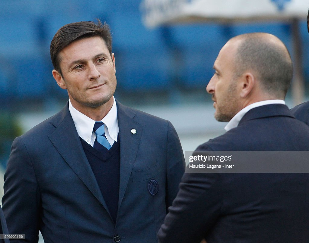 <a gi-track='captionPersonalityLinkClicked' href=/galleries/search?phrase=Javier+Zanetti&family=editorial&specificpeople=206966 ng-click='$event.stopPropagation()'>Javier Zanetti</a> of Inter during the Serie A match between SS Lazio and FC Internazionale Milano at Stadio Olimpico on May 1, 2016 in Rome, Italy.