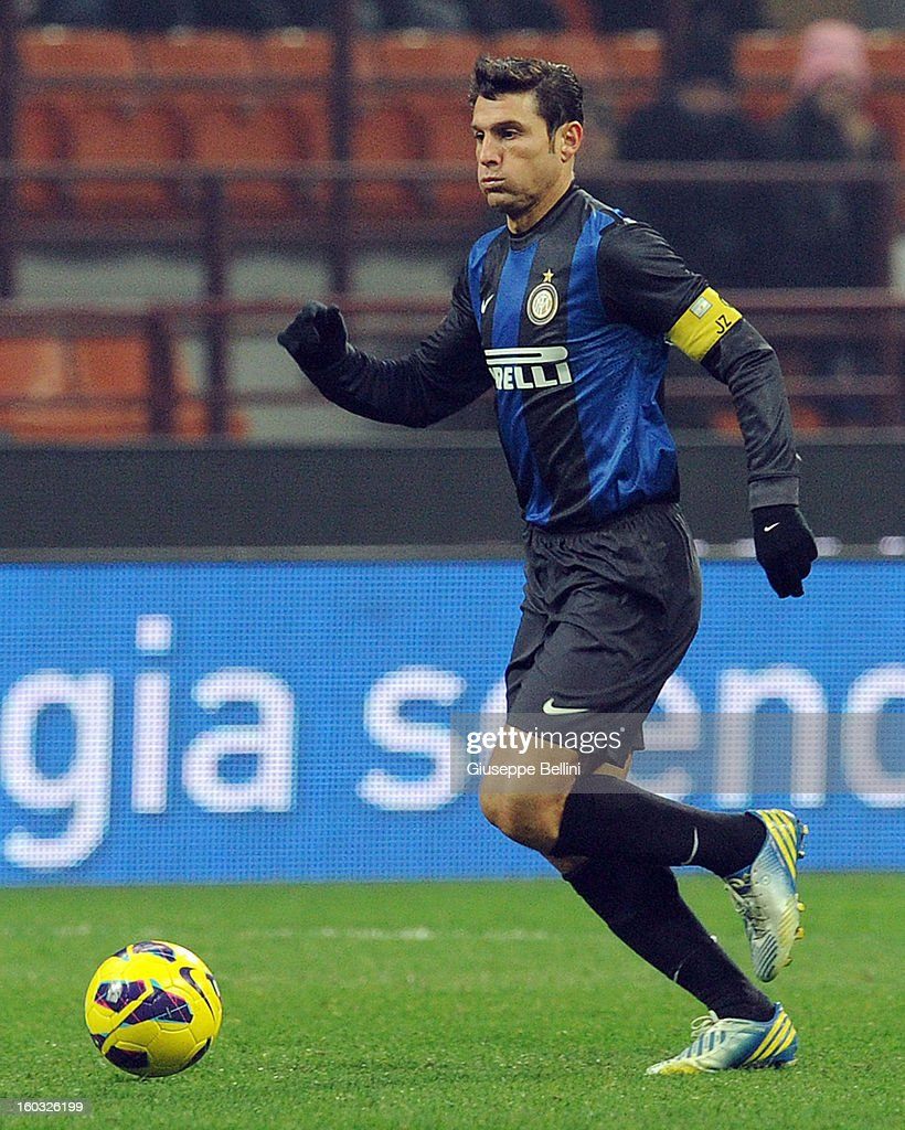 Javier Zanetti of Inter in action during the Serie A match between FC Internazionale Milano and Torino FC at San Siro Stadium on January 27, 2013 in Milan, Italy.