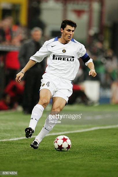 Javier Zanetti of Inter Milan in action during the Champions League Quarter Final First leg match between AC Milan and Inter Milan at the San Siro on...