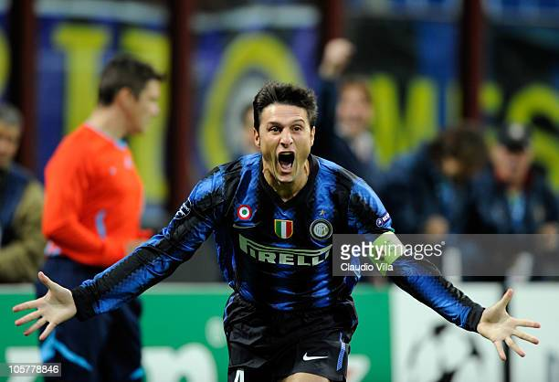 Javier Zanetti of Interv celebrates after the first goal during the UEFA Champions League group A match between FC Internazionale Milano and...