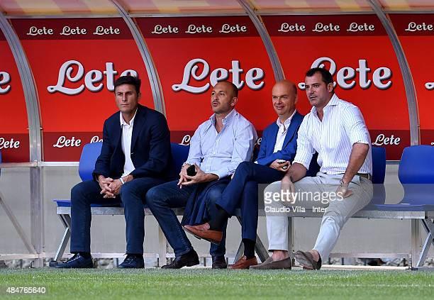 Javier Zanetti Piero Ausilio Marco Fassone and Dejan Stankovic attend FC Internazionale training session at Stadio Giuseppe Meazza on August 21 2015...