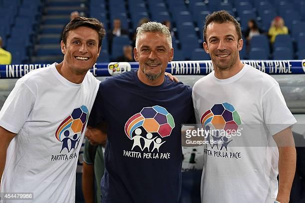 Javier Zanetti Roberto Baggio and Alessandro Del Piero before Interreligious Match for Peace at Olimpico Stadium on September 1 2014 in Rome Italy