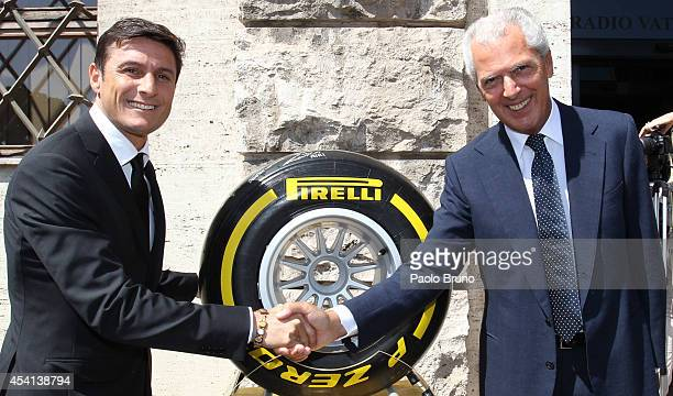 Javier Zanetti Vice President of Internazionale Milano FC and Marco Tronchetti Provera President of Pirelli pose before the 'Interreligious match for...