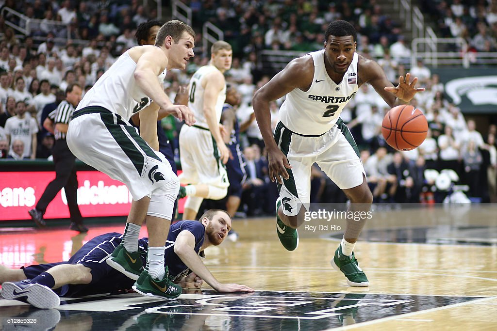 Javon Bess of the Michigan State Spartans drives to the basket in the second half during the game against the Penn State Nittany Lions at the Breslin...