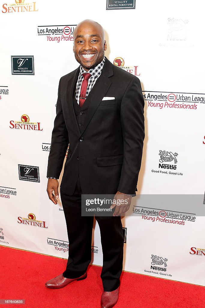 Javon Johnson arrived at the LA Urban League Young Professionals 3rd Annual To The Nines After Party at The Beverly Hilton Hotel on April 26, 2013 in Beverly Hills, California.